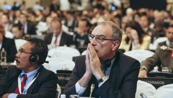 Bundesrat Guy Parmelin an der Sicherheitskonferenz in Singapur.
