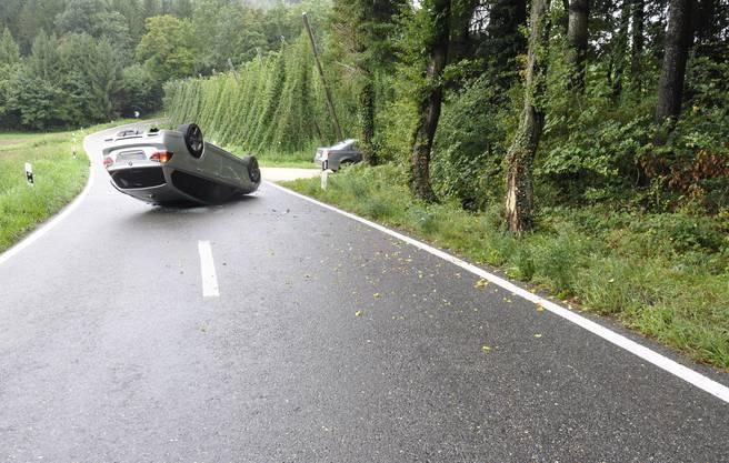 Der Fahrer kam von der Strasse ab und knallte in einen Baum.