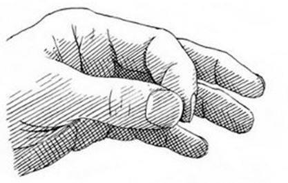 Drücken Sie den Zeigefinger und den Daumen ihrer «starken» Hand aneinander