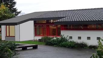Kindergarten Buech 1 mit dem geplanten Anbau (l.). Visualisierung ZVG
