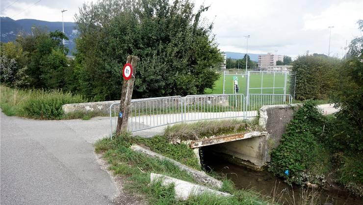 Beschädigte Brücke über den Wildbach. uby