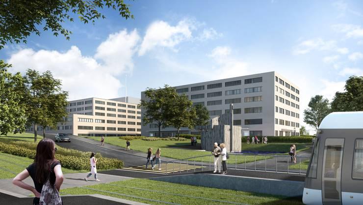Hier handelt es sich um die Nordwest-Ansicht des geplanten Pflegezentrums mit der Limmattalbahn-Haltestelle.