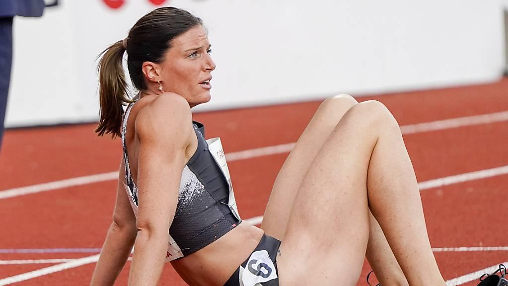 Lea Sprunger nach ihrem Rennen über 300 m Hürden
