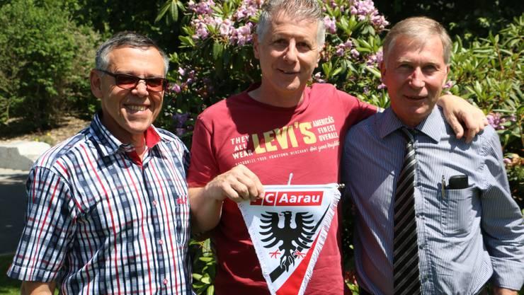 FC Aarau Sportchef Urs Bachmann, Cheftrainer Livio Bordoli und FCA-Präsident Alfred Schmid.