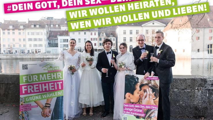 Inszenierung dreier Hochzeiten... 2/3 davon dürfen aber in der Schweiz nicht heiraten! #EheFürAlle! Foto: Mirjam Marti