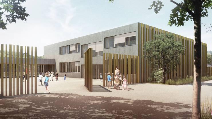 So wird die Kindertagesstätte Goldiland in Obersiggenthal aussehen. Visualisierung: ZVG