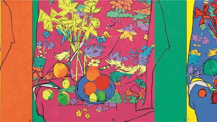 Samuel Buris Triptychon «Chinaglocken und Osterseide» (Acryl auf Leinwand, 94 x 360 cm) aus dem Jahr 1997 war in der Geburtstagsausstellung zu sehen. Galerie Carzaniga