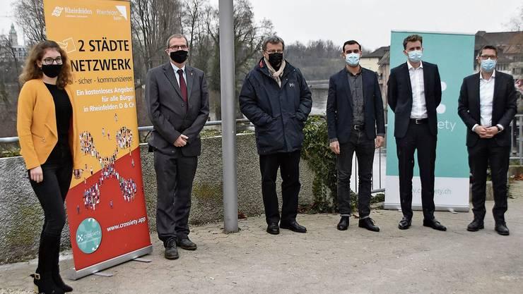 Die Verantwortlichen der beiden Rheinfelden und von «Crossiety» präsentierten die App.