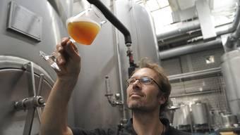 Jan Czerny, Brauer von «Unser Bier», degustiert Bier. (Archiv)