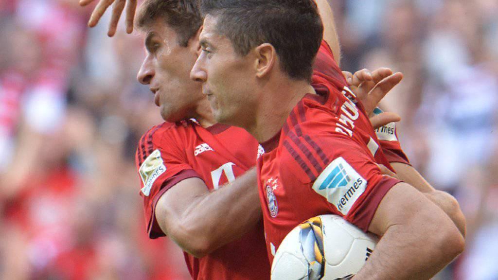 Thomas Müller und Robert Lewandowski trafen bei Bayerns Heimsieg gegen Augsburg