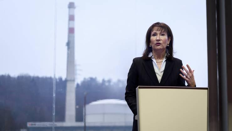 BKW-Konzernchefin Suzanne Thoma spricht anlässlich der Abschaltung des Atomkraftwerks Mühleberg.