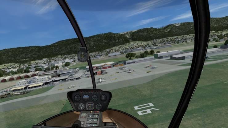 Screenshots aus dem Computerprogrammm Flylogic zu Darstellung des Grenchner Regionalflughafens für Simulatortraining