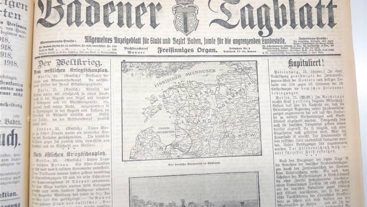 1918 war das Badener Tagblatt noch «Allgemeines Anzeigenblatt für Stadt und Bezirk Baden, sowie für die angrenzenden Landesteile».
