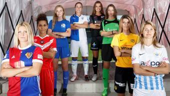 Von links nach rechts: Rachel Rinast (Basel), Veronika Emini (Lugano), Rahel Tschopp (Luzern), Mirjam Betschart (GC), Lara Jenzer (Aarau), Alison Fallet (Yverdon), Florijana Ismaili (YB), Barla Deplazes (Zürich).