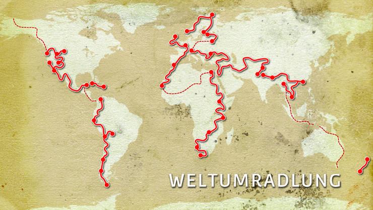<p>Auf der Karte sind die Etappen eingezeichnet, welche Markus Greter bereits gefahren ist.&nbsp;</p>