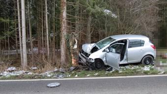 Frontal in Baumstrunk geprallt – Autofahrer schwerverletzt