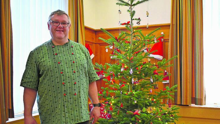 Wirt Michel Schmid («Krone», Wittnau)  empfängt noch im Februar Gäste zum Weihnachtsessen.