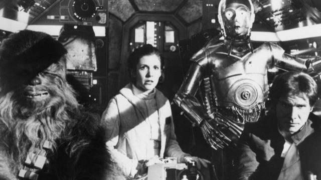 """Schwarz/Weiss-Foto einer Szene aus dem Film """"The Empire Strikes Back"""" (1980)"""
