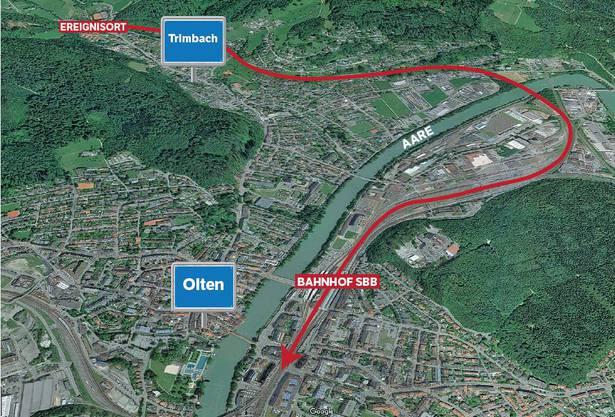 Die grosse Fahrt des Dienstwagens, die bei Trimbach begann und beim Bahnhof Olten abrupt endete.