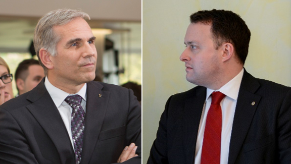SVP-Präsident Lorenz Nägelin (links) vermutet, dass ihn Sebastian Frehner (rechts) aus dem Weg räumen will.