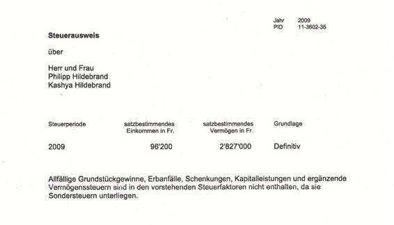 2009 nur 96200 Franken versteuert: Auszug aus dem Steuerausweis