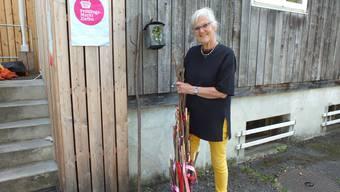 Die Ziefner Einwohnerin Hilde Riesen macht den Abfall am Strassenrand sichtbar: Sie stellt Büchsen und Flaschen auf dekorierten Stecken zur Schau.