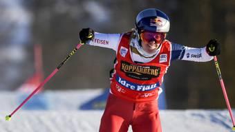 Die Schweizer Weltcup-Leaderin Fanny Smith feiert in Russland ihren 18. Weltcupsieg, den fünften in dieser Saison
