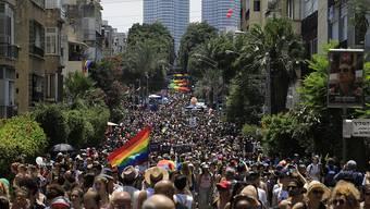 Zehntausende fordern anlässlich der Gay-Pride-Parade in Tel Aviv gleiche Rechte für Schwule, Lesben, Bi- und Transsexuelle.