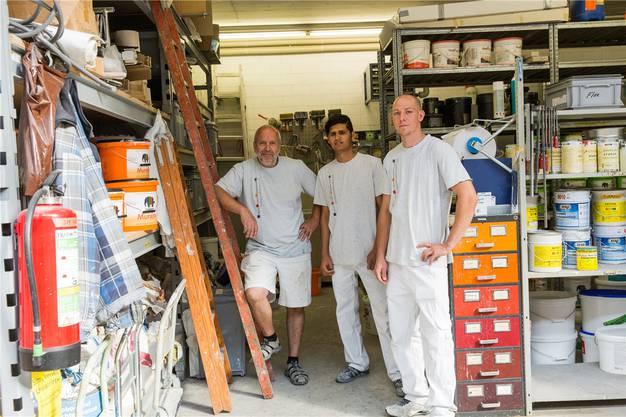 Vor zwei Jahren: die Männer im Malergeschäft in Windisch. (4.Juli 2017)