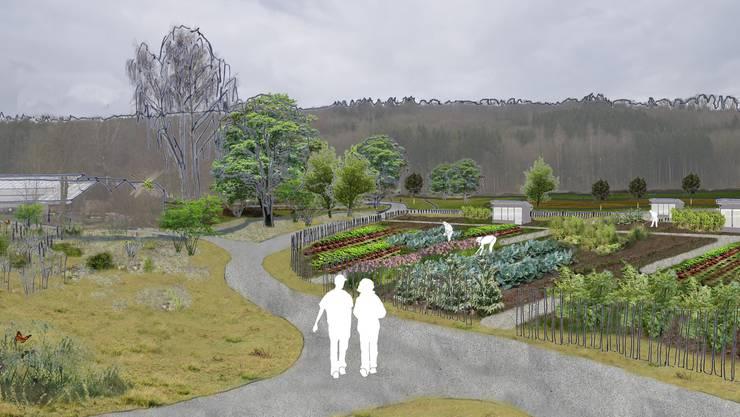 Auf dem Zürcher Dunkelhölzli-Gartenareal an der Grenze zu Schlieren sollen Gemeinschafts- und Familiengärten sowie ein Park entstehen. (Visualisierung)