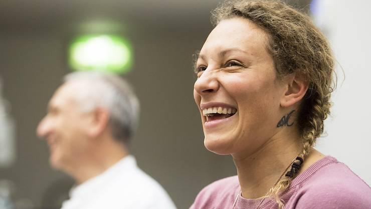 Nach der erfolgreichen Operation in Basel bereits wieder bestens gelaunt: Ilka Stuhec