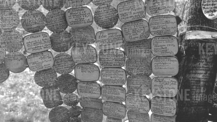 Armand Schulthess beschrieb Tausende kleiner Blechtäfelchen mit Wissenswertem und hängte sie in seinem Garten auf (Archiv)