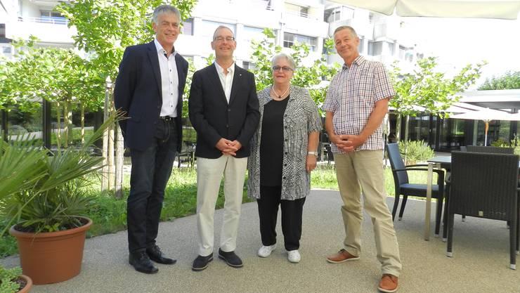 Marcel Lanz (links) mit dem derzeitigen Bifang-Leiter Robert Werder, der Vereinspräsidentin Marianne Piffaretti und dem Vizepräsidenten Urs Meier. JÖRG BAUMANN