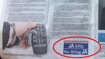 Vergangenen Donnerstag lag eine Seite im «Fokus Energie» thematisch quer. Sie handelte von Medienvielfalt und unten links prangte das Logo «Ja SRG: No Billag Ja».