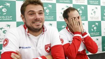 Stan Wawrinka und Captain Severin Lüthi (links) bereiten sich in Genf auf die Spiele gegen Holland vor.