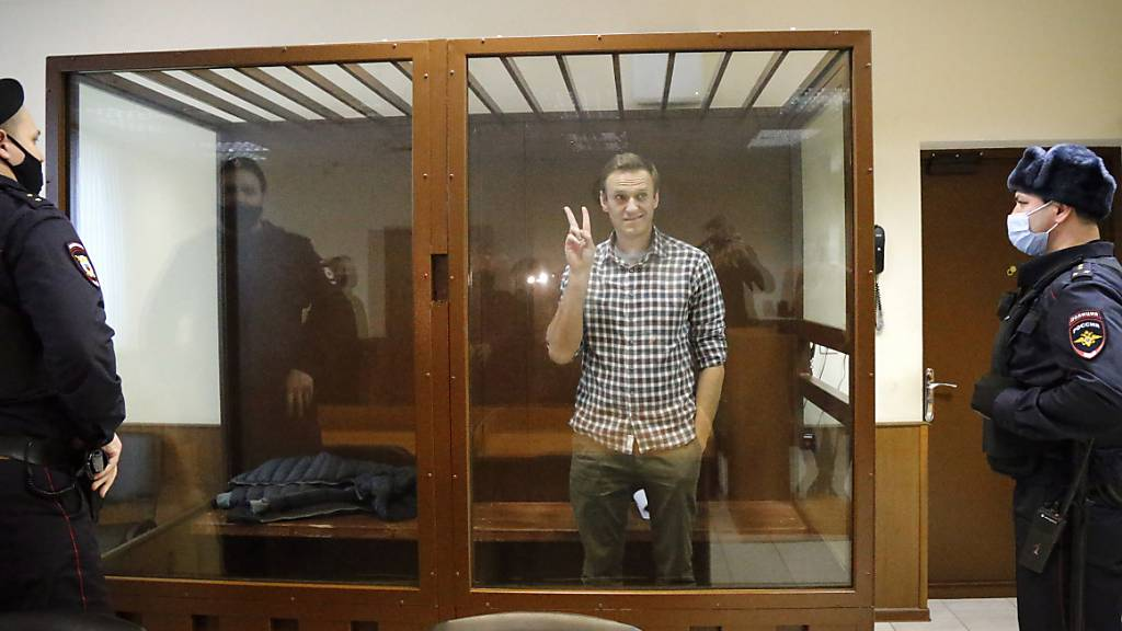 ARCHIV - Oppositionsführer Alexej Nawalny (M) steht in einem Käfig im Babuskinsky Bezirksgericht (Archivbild). Foto: Alexander Zemlianichenko/AP/dpa
