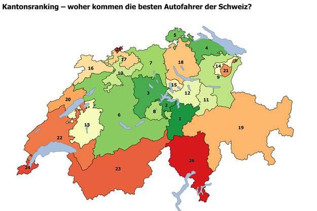 Untersucht wurden die Kollisionsfrequenzen der letzten fünf Jahre von Autolenkerinnen und -lenkern in allen Schweizer Kantonen.
