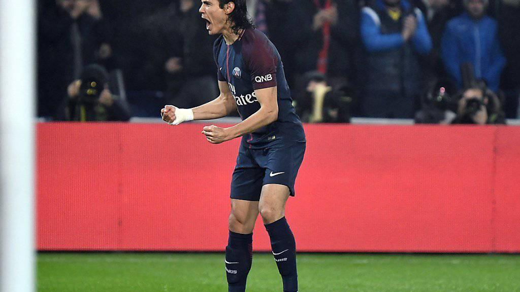 Edinson Cavani, der beste Torschütze der Ligue 1, erzielte einen herrlichen Treffer.