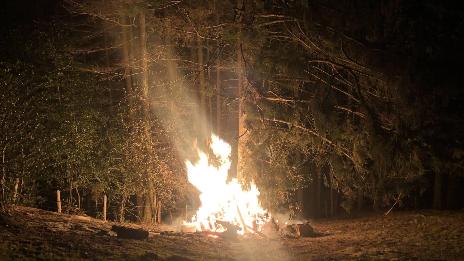 Neben einer Feuerstelle in Urnäsch geriet eine Holzbeige in Brand.