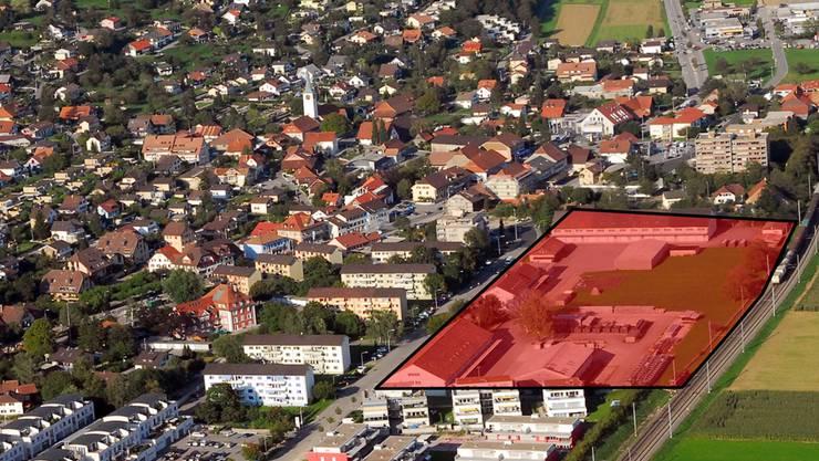 In der Dorfmitte von Oensingen sind nur noch kleinere Flächen unbebaut, das Zeughausareal (eingefärbt) würde Potenzial bieten.
