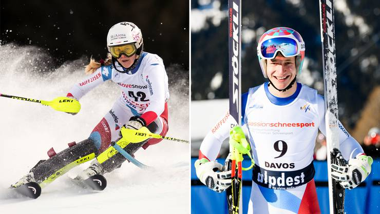 Aline Danioth (l.) erhält für die Mission Weltcup Tipps von Bernhard Russi – Marco Odermatt (r.) wird von Red Bull unterstützt.