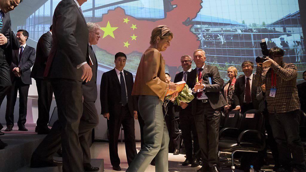 Königin Maxima muss ihr Besuchsprogramm in China - hier am Sonntag in Peking - wegen einer Infektion einschränken.