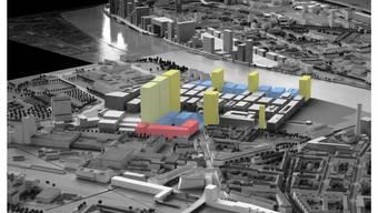 Am Mittwoch diskutiert der Grosse Rat die «Rheinfront»: Die drei gelben Hochhäuser am Rhein mit den kleinen blauen dazwischen.