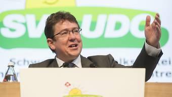 """Nationalrat Albert Rösti sprach an der Delegiertenversammlung der SVP über den """"Radikalen Islam in der Schweiz"""" und was dagegen zu tun sei."""