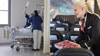 «Hätten Sie gerne ein Schöggeli?» – Swiss-Stewardessen zeigen den Angestellten öffentlicher Spitäler, worauf sie im Umgang mit Patienten achten müssen.