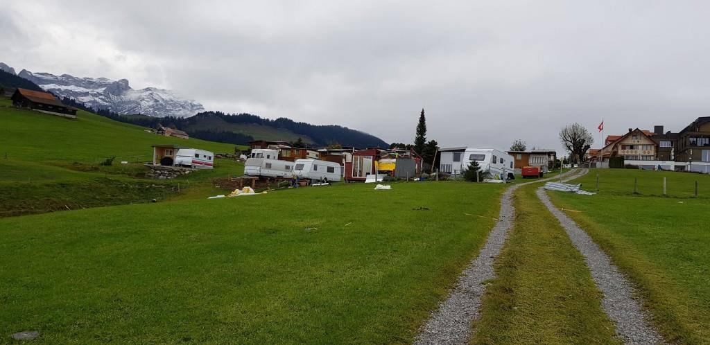 Auf dem Campingplatz Eischen in Appenzell hat der Sturm heftig gwütet.