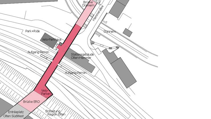 Die Darstellung zeigt die unterschiedlichen Elemente einer Hammerunterführung für den Fuss- und Veloverkehr. Die eigentliche Unterführung selbst (rot markiert) ist rund 80 Meter lang, 7 Meter breit und 3 Meter hoch.