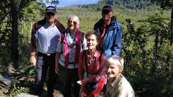 Heidi Ammon (vorne) und ihre Freunde vor dem Vulkan Osorno.
