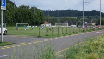 Das Haupt-Fussballfeld des FC Muhen (im Hintergrund) soll saniert, vergrössert und durch Kunstrasen ersetzt werden. Archiv