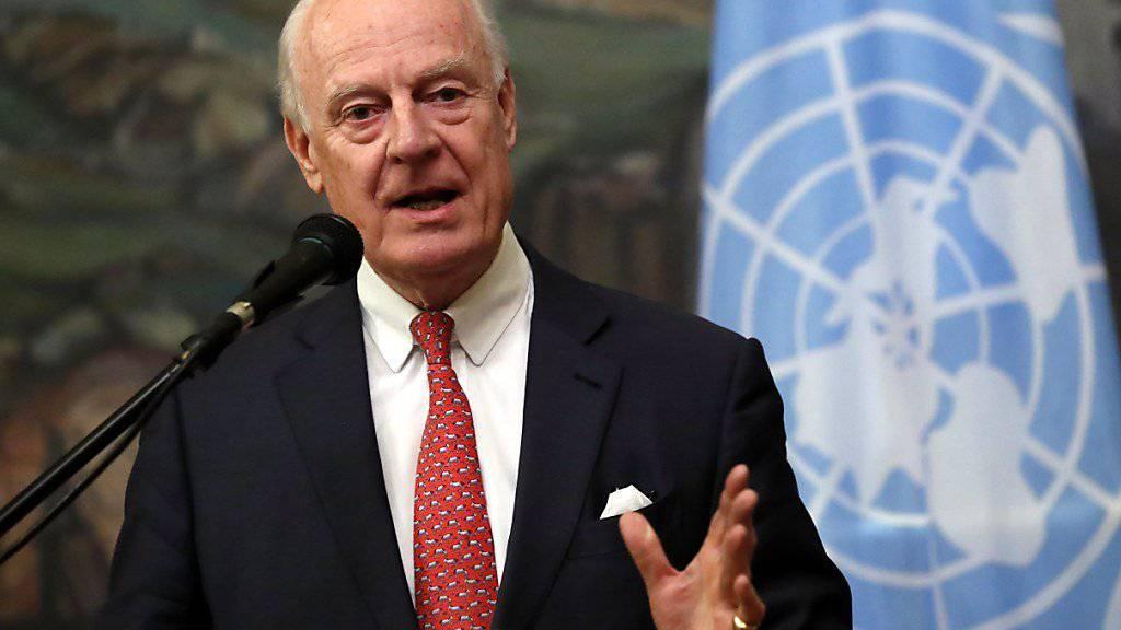 Der Uno-Sonderbeauftrage für Syrien, Staffan de Mistura, fordert eine unabhängige Aufklärung des Giftgasangriffes in Syrien. (Archiv)